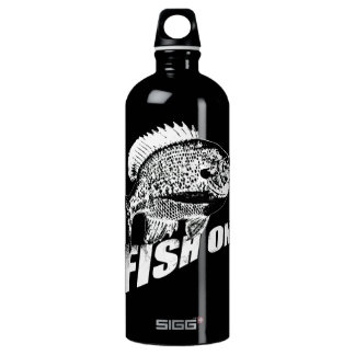 Bluegill fish on. black SIGG traveller 1.0L water bottle