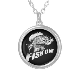 Bluegill fish on. black silver plated necklace