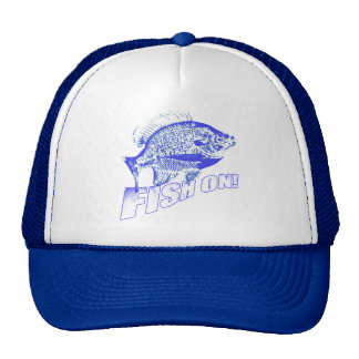 Bluegill fish on blue cap