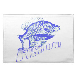 Bluegill fish on blue cloth placemat