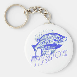 Bluegill fish on blue keychain