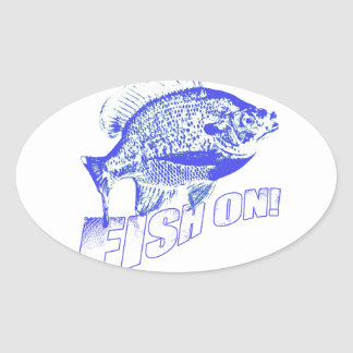 Bluegill fish on blue oval sticker