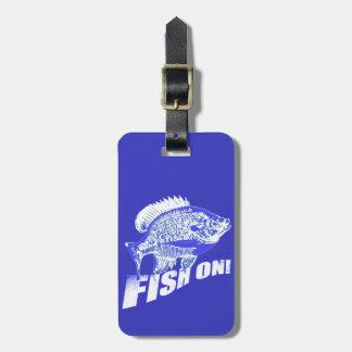 Bluegill fish on blue travel bag tag
