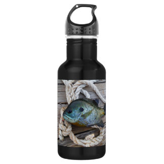 Bluegill fish on dock and rope 532 ml water bottle