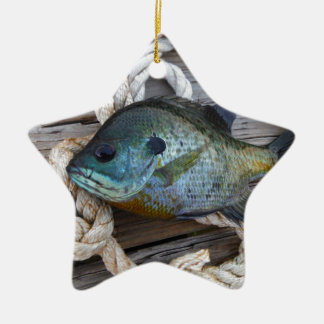 Bluegill fish on dock and rope christmas tree ornament