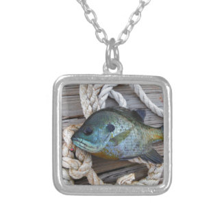 Bluegill fish on dock and rope necklace