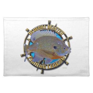 Bluegill fishing legend cloth place mat