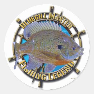Bluegill fishing legend round sticker