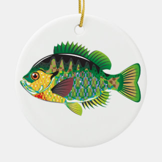 Bluegill Panfish Vector Round Ceramic Decoration