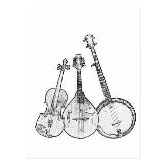 Bluegrass Band B&W Postcard