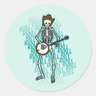 Bluegrass Banjo Skeleton Round Sticker