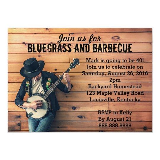 Bluegrass Barbecue BBQ Birthday Party Invitation