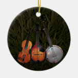 Bluegrass Christmas Tree Double-Sided Ceramic Round Christmas Ornament