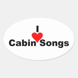 Bluegrass Music: I (heart) Cabin Songs Oval Sticker