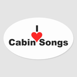 Bluegrass Music: I (heart) Cabin Songs Oval Stickers