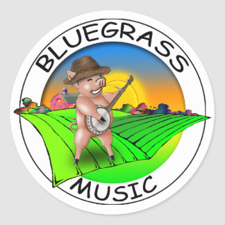 Bluegrass Music Round Sticker
