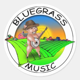 Bluegrass Music Round Sticker