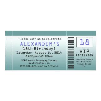 "BlueGreen Ticket Invitations 4"" X 9.25"" Invitation Card"