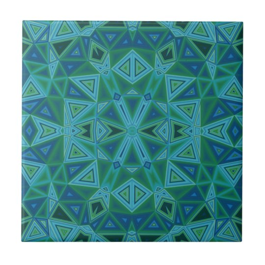 Bluegreen Triangles Ceramic Tile
