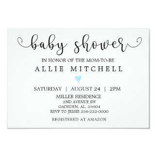 BlueHeart Baby Shower Invitation
