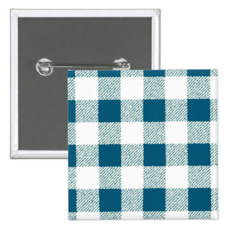 Blueish Green Gingham Check Pattern 15 Cm Square Badge