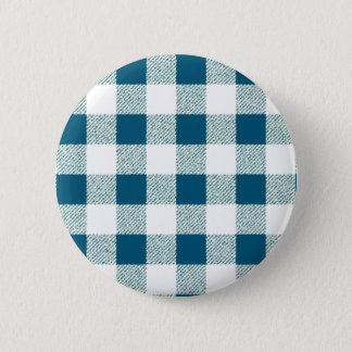 Blueish Green Gingham Check Pattern 6 Cm Round Badge