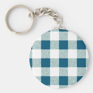 Blueish Green Gingham Check Pattern Basic Round Button Key Ring
