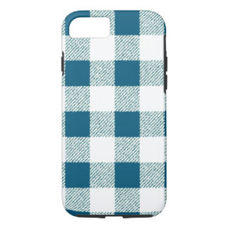 Blueish Green Gingham Check Pattern iPhone 8/7 Case