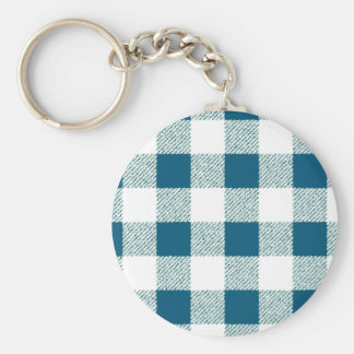 Blueish Green Gingham Check Pattern Key Ring