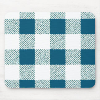 Blueish Green Gingham Check Pattern Mouse Mat