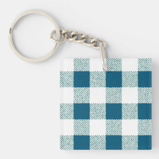Blueish Green Gingham Check Pattern Single-Sided Square Acrylic Key Ring
