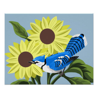 Bluejay and Sunflowers Art Print
