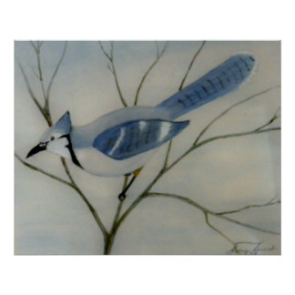 Bluejay Bird Painting Poster