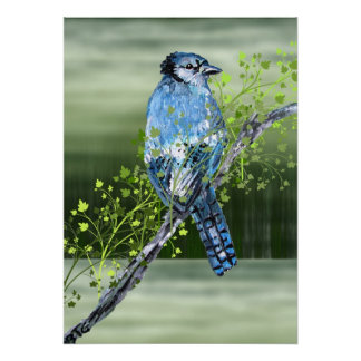 Bluejay Mixed Media Canvas Stretched Poster Print