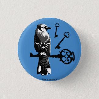 Bluejay w/ Keys 3 Cm Round Badge