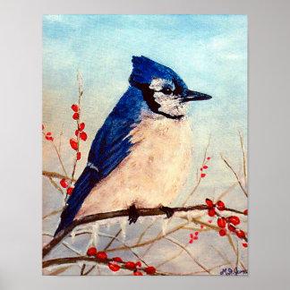 Bluejay winter berries wildlife painting print