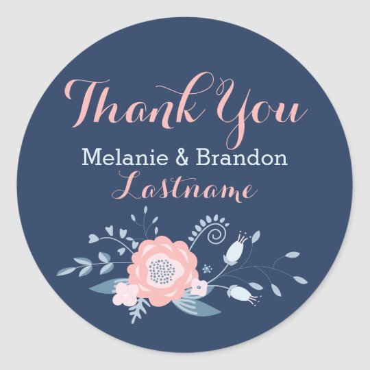 Bluen and blue wedding Thank You Stickers