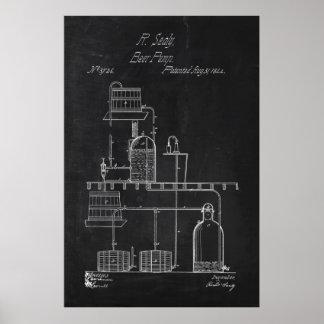 Blueprint Beer Making Equipment Poster