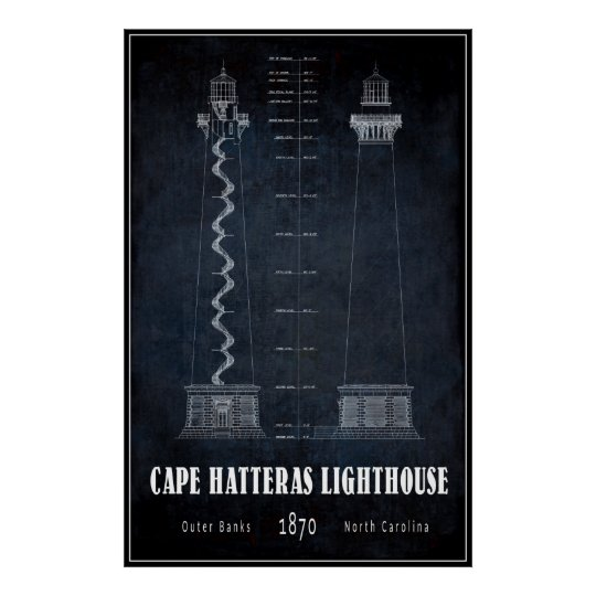 BLUEPRINT CAPE HATTERAS LIGHTHOUSE NORTH CAROLINA POSTER