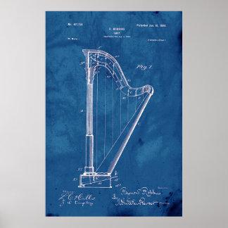 Blueprint Harp Patent Poster