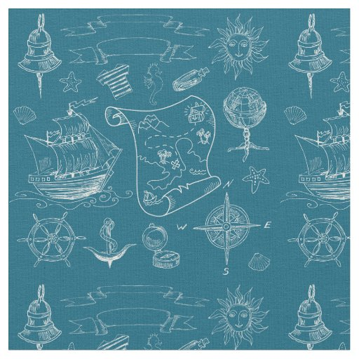Blueprint Nautical Graphic Pattern Fabric