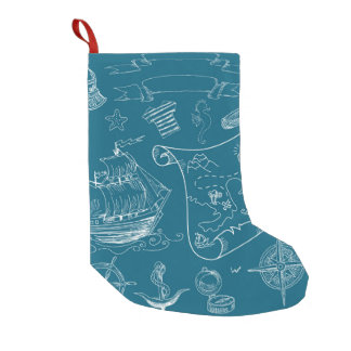 Blueprint Nautical Graphic Pattern Small Christmas Stocking