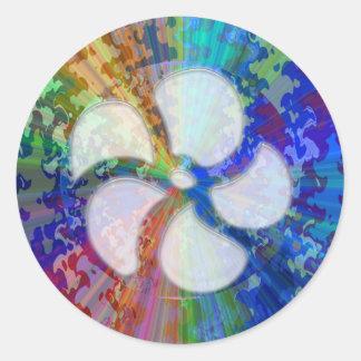 BlueRay Rainbow Floral Chakra Round Sticker