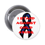 blueribbon, I STAND AGAINST CHILD ABUSE Pinback Buttons