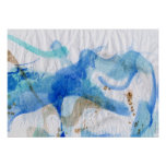 Blues 013 Abstract Watercolor Textured Paper Poster