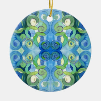 Blues and Greens must always be seen Watercolour Christmas Ornament