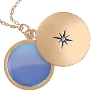 Blues background round locket necklace