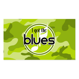 Blues bright green camo camouflage business card