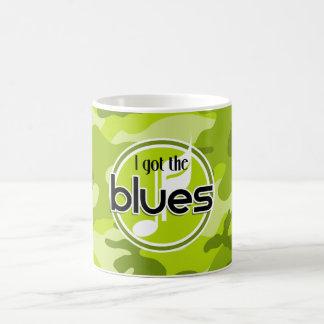 Blues; bright green camo, camouflage coffee mug