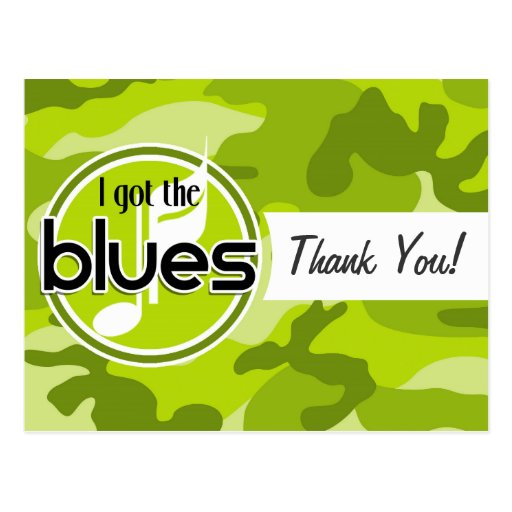 Blues; bright green camo, camouflage postcards